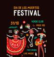 dia de los muertos festival poster flat vector image vector image