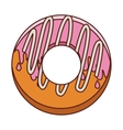 donut with medium pink glazed and spiral cream vector image