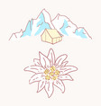 edelweiss tent hiking mountains flower symbol vector image vector image