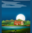 enchanted wooden house at night vector image