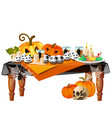 festive table with burning candles and themed vector image vector image