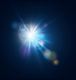 flash burst star light with blur and lens flare vector image