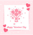 flower bouquet valentine card love text vector image vector image
