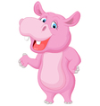 Funny cartoon hippo waving vector image vector image