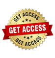 get access 3d gold badge with red ribbon vector image vector image