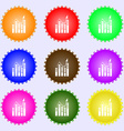 Graph icon sign A set of nine different colored vector image