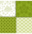 green decorative floral wallpaper pattern set vector image vector image