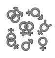 hand drawn set gender symbols with scribble vector image