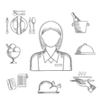 Hand drawn waitress and restaurant items vector image vector image