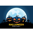 happy halloween pumpkins on blue moon light vector image