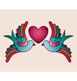 heart and birds tattoo isolated icon design vector image