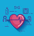 heart cardio with healthy lifestyle icons vector image vector image
