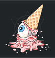 ice cream cone eyes and melted bacon vector image vector image