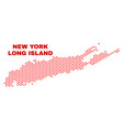 long island map - mosaic of love hearts vector image vector image