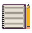 notebook school supply with pencil vector image