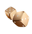 poker dice view of golden white dice casino gold vector image