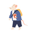 rat or mouse cub in clothes with schoolbag vector image