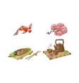 sakura coi carp sushi tea ceremony set vector image