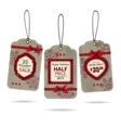 set three vintage christmas sale labels vector image