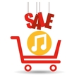 shopping cart sale music icon vector image