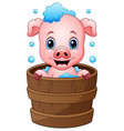 smiling pig cartoon bathing vector image vector image