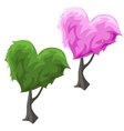 Topiary tree in hearts forms green and pink color vector image