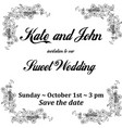 wedding invitation card with flowers frame for vector image