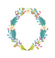 wreath flowers floral leaves foliage decoration vector image