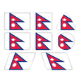 buttons with flag of Nepal vector image
