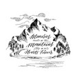 inspiring mountain calligraphy hand drawing vector image