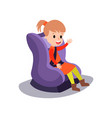cute little girl sitting on a purple car seat vector image