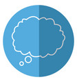 outlined cloud bubble speech blue background vector image