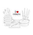 Set Of Cooking Utensils Hand Drawn Realistic vector image