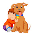 a little boy hugging his dog vector image vector image