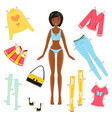 african american girl paper doll with a set of vector image