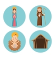 Baby jesus mary and joseph design vector image vector image