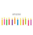 birthday greeting card template colorful candles vector image