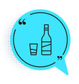 black line bottle vodka with glass icon vector image vector image
