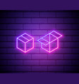 box neon sign gift neon sign win super prize vector image vector image