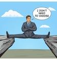 businessman sitting on split between rocks pop art vector image vector image