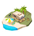 camping car at the sea isometric vector image vector image