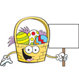 Cartoon Easter basket holding a sign vector image vector image