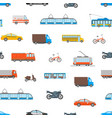 cartoon urban transport seamless pattern vector image vector image