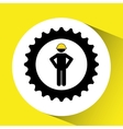 character man worker construction and gears icon vector image vector image