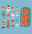 christmas icons symbols for greeting card vector image