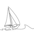 continuous line drawing of sailboat vector image