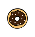 cute chocolate donut on white background vector image vector image