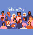 female diverse faces different ethnicity poster vector image