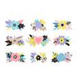 floral colorful bouquet setbackground vector image