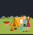 friends in the camping zone vector image
